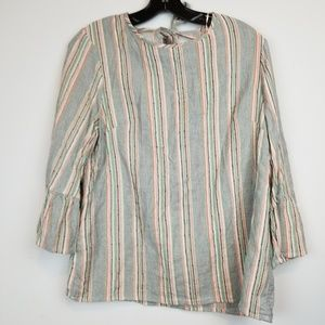 F & F striped open back bell sleeve blouse size 8